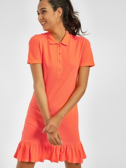 PostFold Frill Hem Polo Shift Dress
