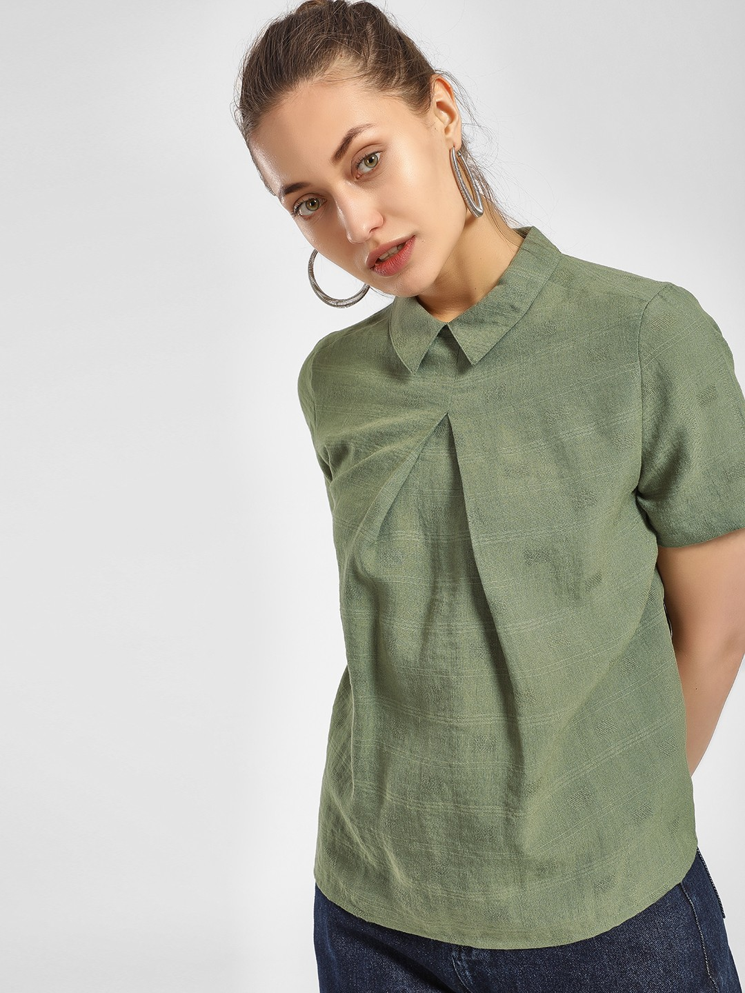 PostFold Olive Peter Pan Collar Pleated Blouse 1