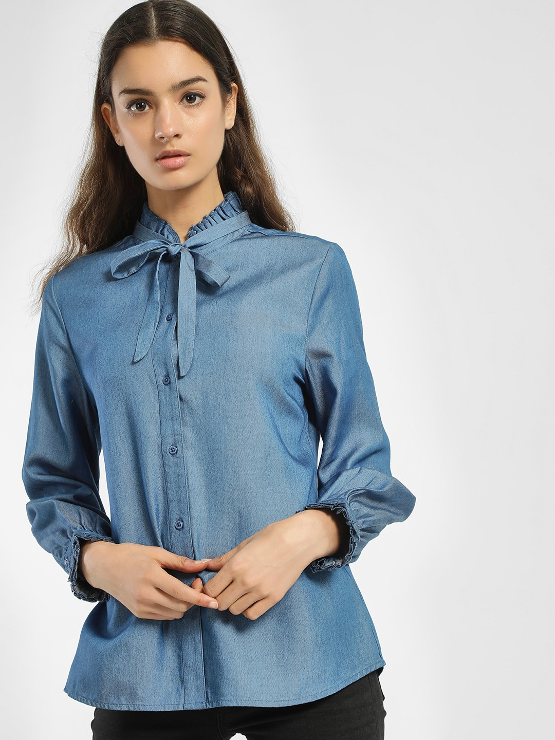 PostFold Blue Ruffled Tie-Up Shirt 1