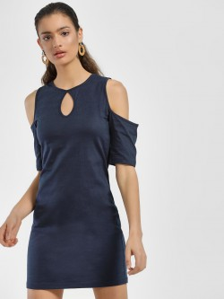 Blue Sequin Keyhole Cold Shoulder Mini Shift Dress