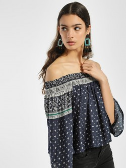 Blue Sequin Moroccan Print Off-Shoulder Top
