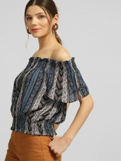 Blue Sequin Paisley Print Bandeau Top