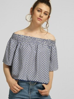 Blue Sequin Off-Shoulder Geometric Print Blouse