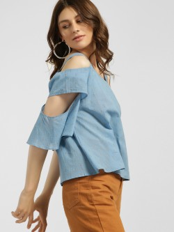 Blue Sequin Dobby Cold Shoulder Blouse