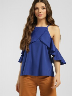 Blue Sequin Frill Overlay Cold Shoulder Top