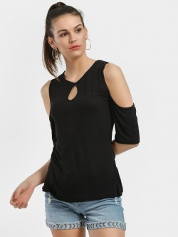 Blue Sequin Keyhole Cold Shoulder Top