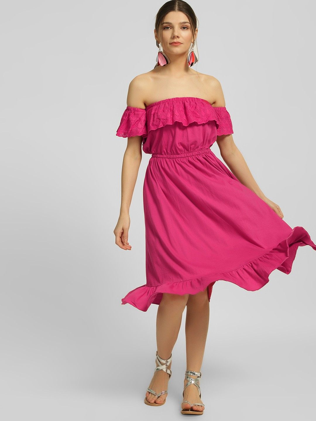 Blue Sequin Pink Off-Shoulder Broderie Midi Dress 1