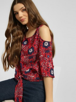 Blue Sequin Floral Print Cold Shoulder Blouse