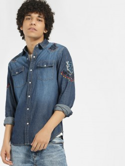 Blue Saint Light Wash Embroidered Denim Shirt