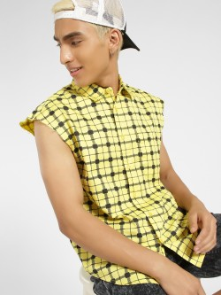 Blue Saint Sleeveless Check Shirt
