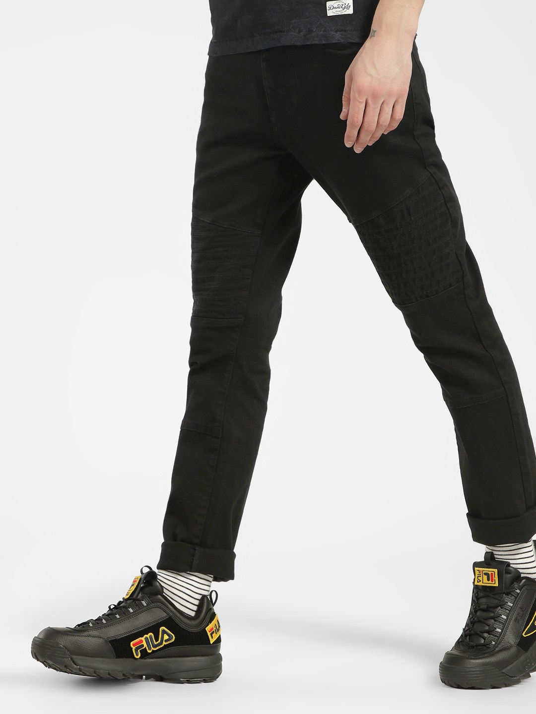 Blue Saint Black Biker Panel Skinny Jeans 1