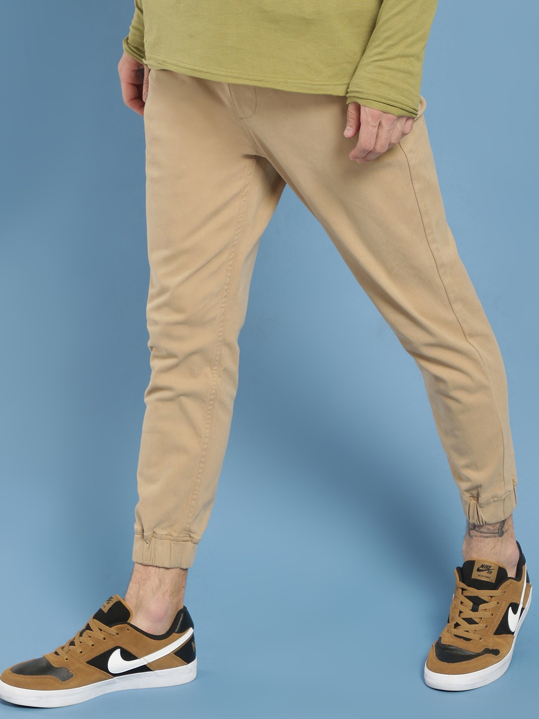Blue Saint Beige Basic Slim Fit Joggers 1