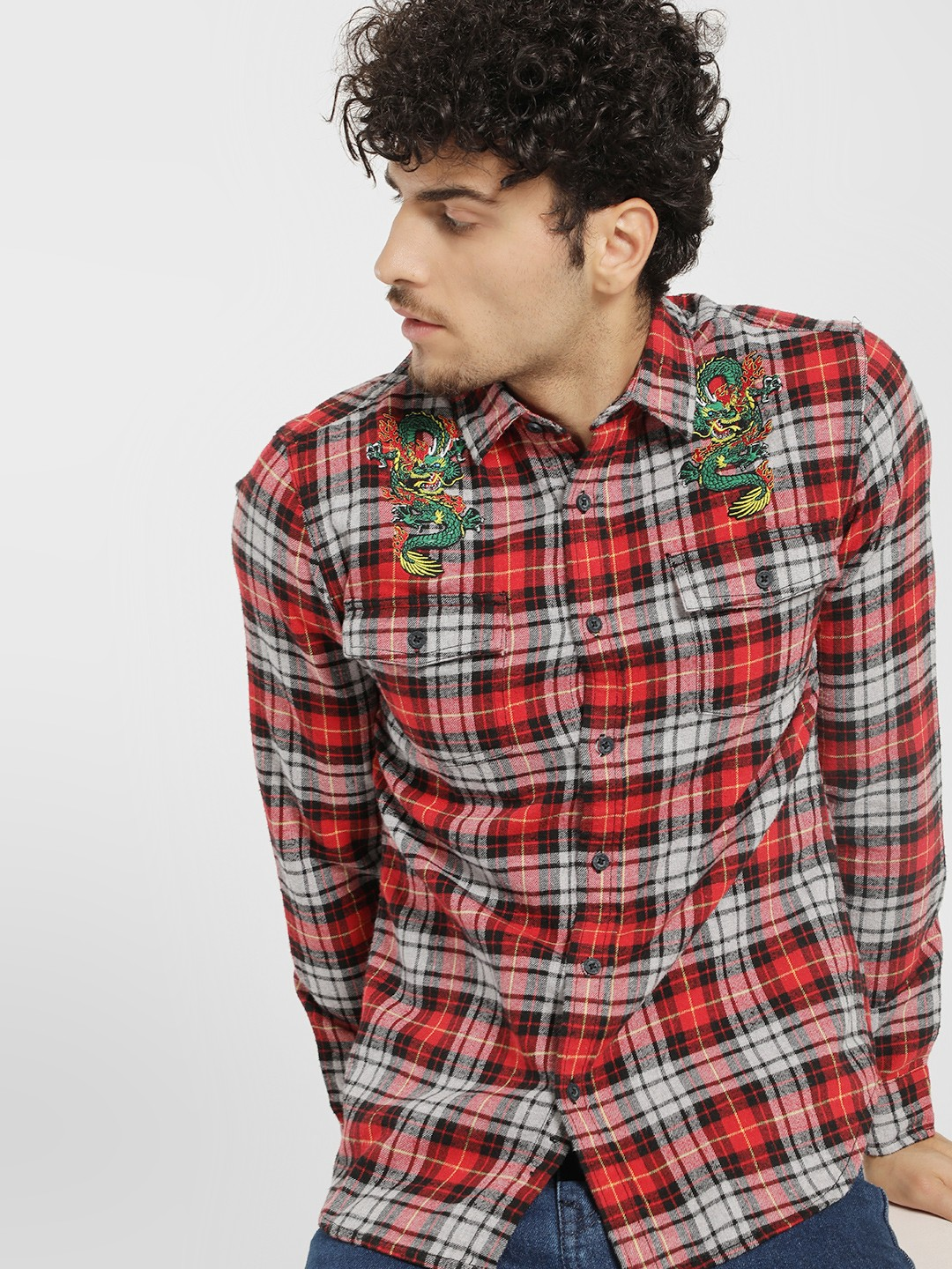 Blue Saint Red Dragon Embroidered Tartan Check Shirt 1