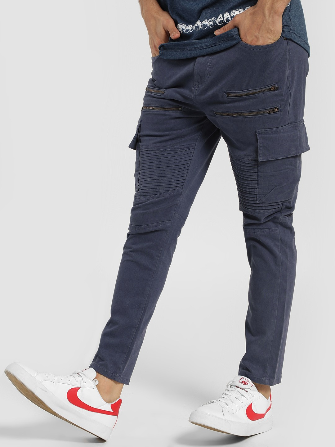 Blue Saint Blue Cargo Pocket Biker Trousers 1