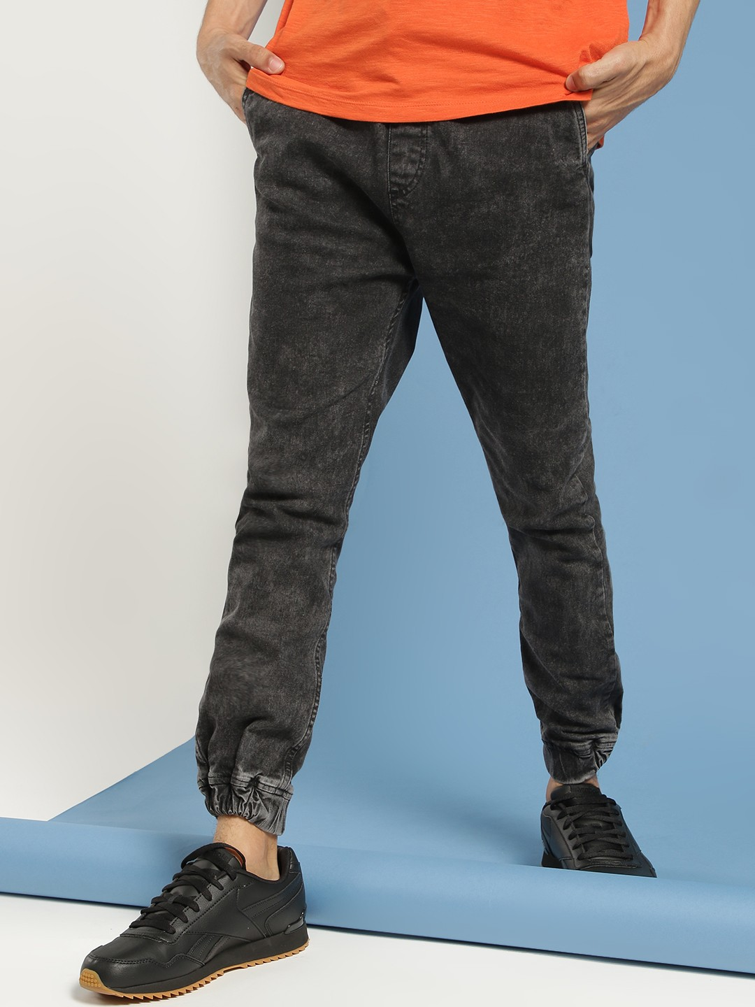 Blue Saint Black Acid Wash Denim Joggers 1