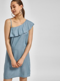 LC Waikiki Frill Overlay One Shoulder Dress