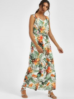 LC Waikiki Tropical Palm Print Maxi Dress