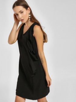 LC Waikiki Side Ruffle V-Neck Shift Dress