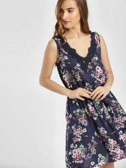 LC Waikiki Floral Print Lace Detail Skater Dress