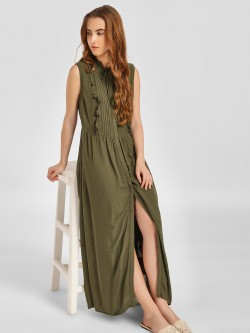 LC Waikiki Pintuck Yoke Trim Maxi Dress