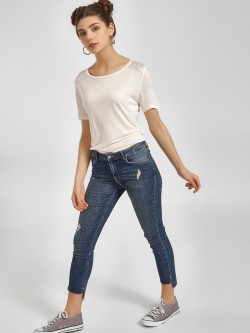 LC Waikiki Distressed Mid-Wash Cropped Skinny Jeans