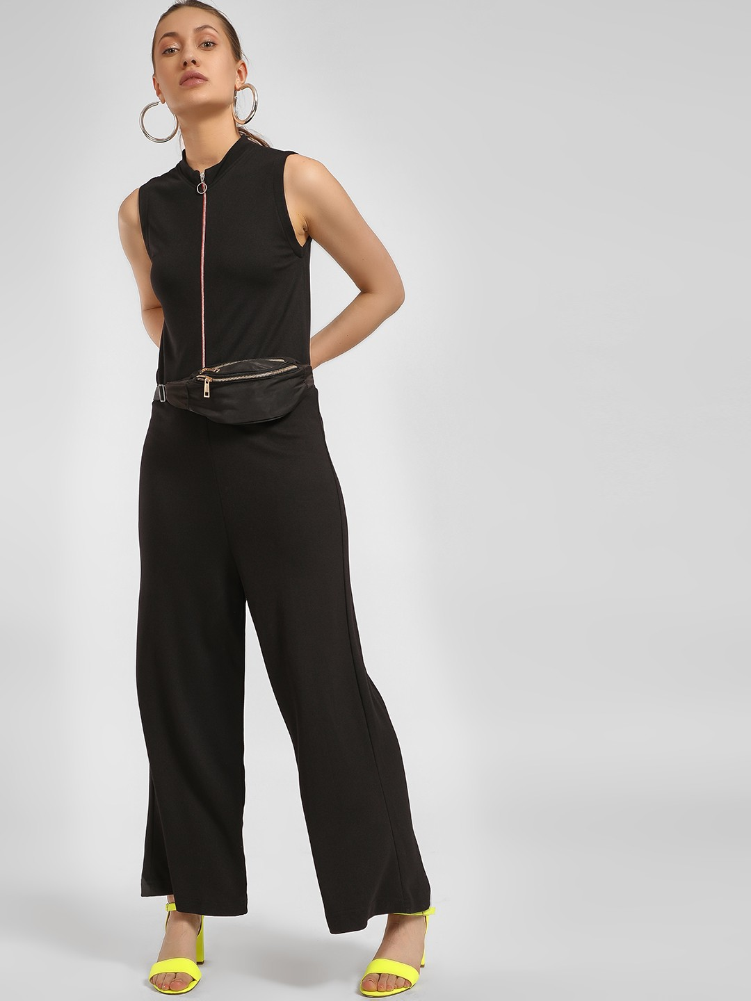 LC Waikiki Black Basic Zip-Up Sleeveless Jumpsuit 1