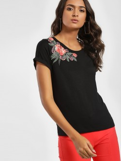 LC Waikiki Sequin Floral Applique Patch T-Shirt