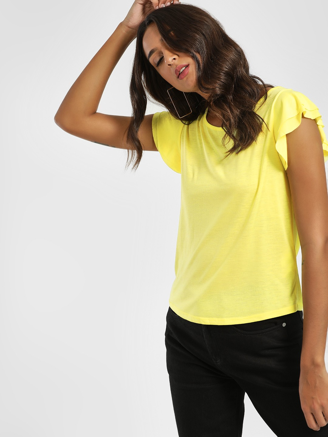LC Waikiki Yellow Frilled Sleeve T-Shirt 1
