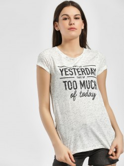 LC Waikiki Sequinned Slogan Embroidered T-Shirt