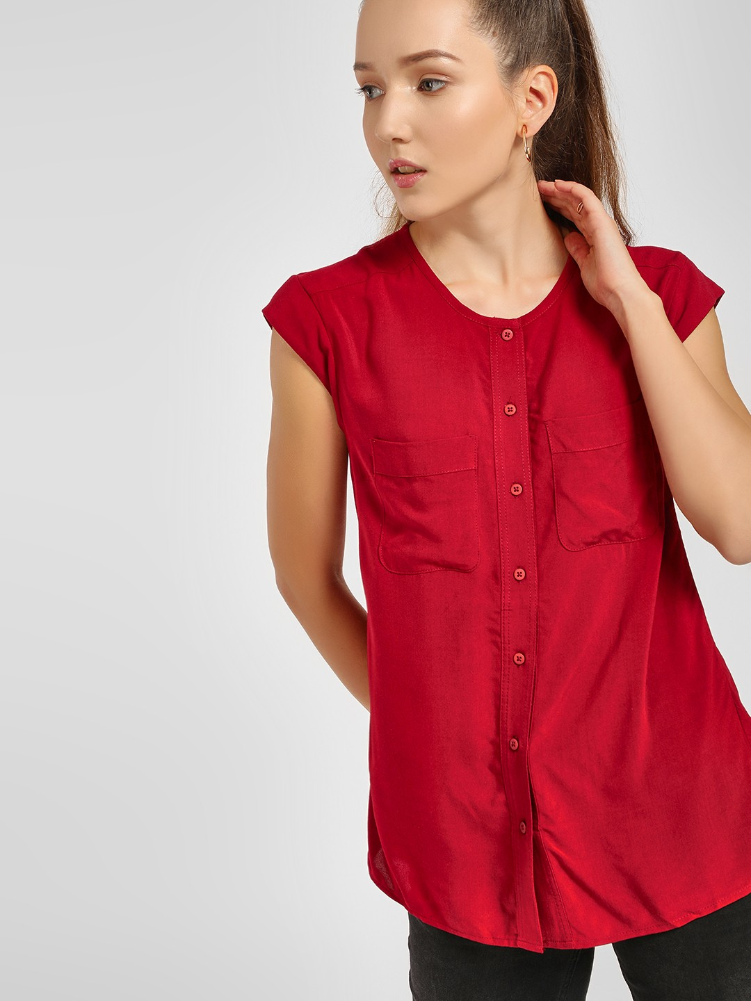 LC Waikiki Red Basic Cap Sleeve Blouse 1