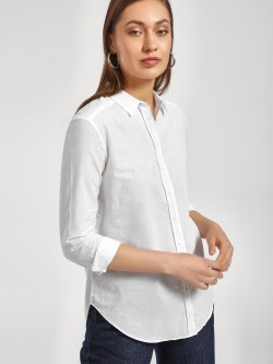 LC Waikiki Basic Curved Hem Shirt