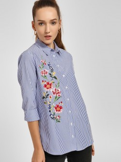 LC Waikiki Bead Embroidered Floral Print Striped Shirt