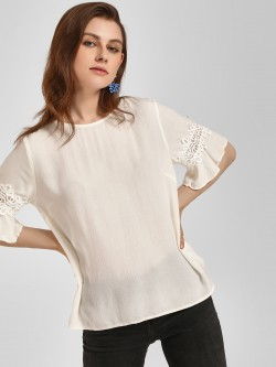 LC Waikiki Back Button Lace Detail Blouse