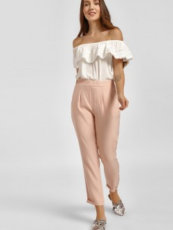 LC Waikiki Elasticated Waist Pleated Cropped Trousers