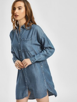 LC Waikiki Side Buttoned High-Low Shirt Dress