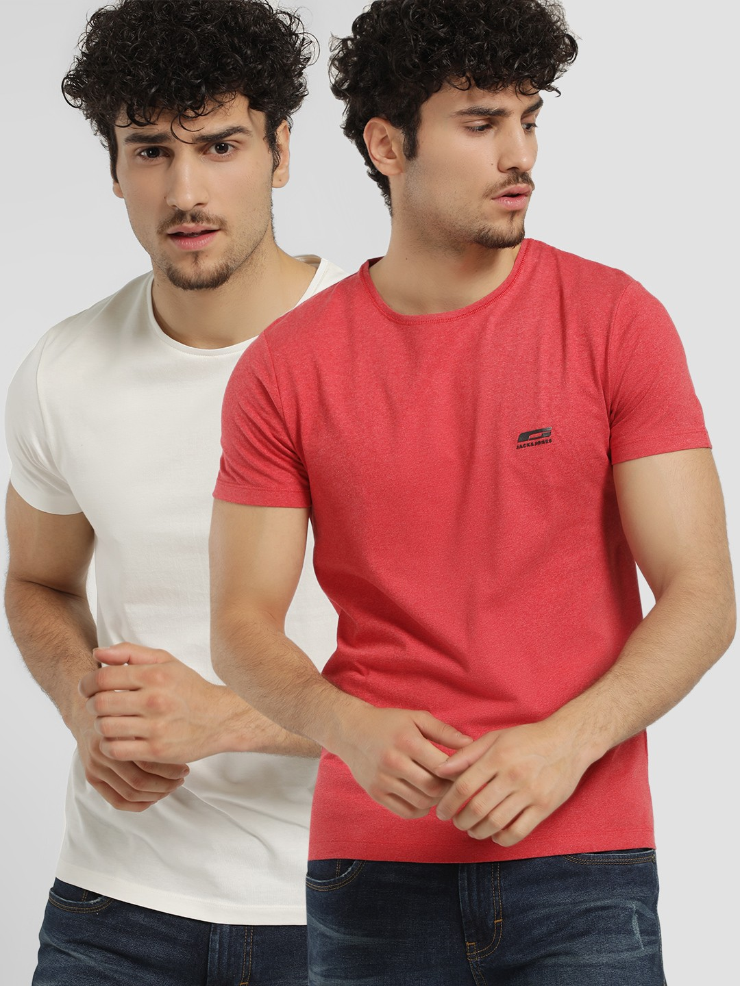 Jack & Jones Multi Crew Neck Slim T-Shirt (Pack Of 2) 1