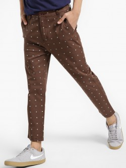 Spring Break Polka Print Cropped Slim Trousers