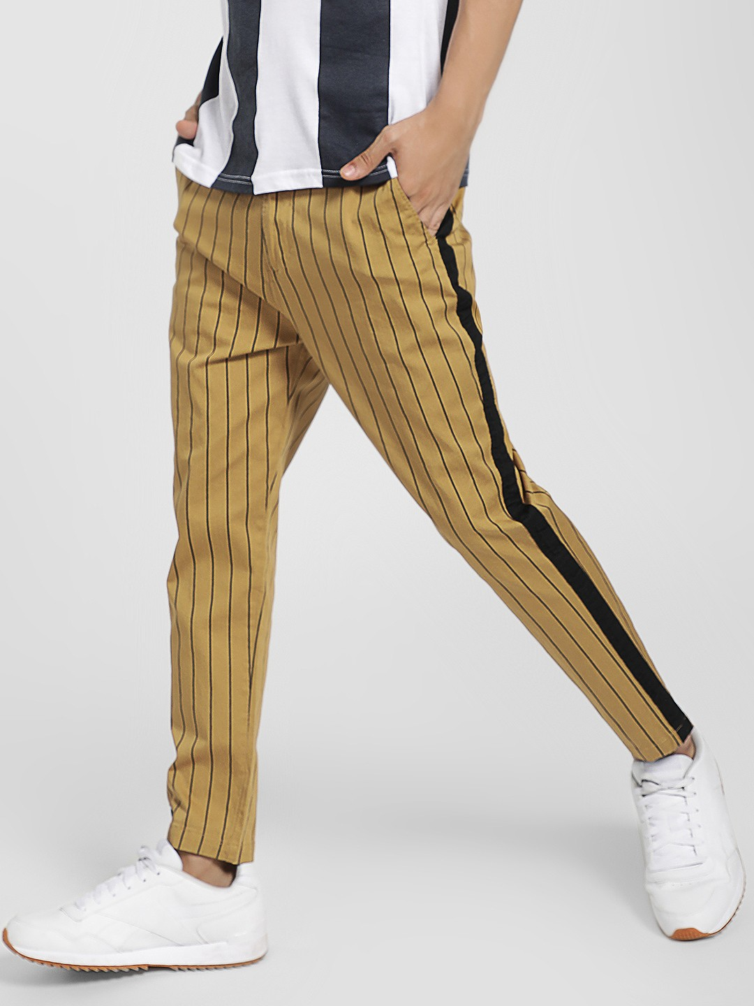 Spring Break Brown Stripe Side Tape Cropped Trousers 1