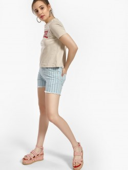 Blue Saint Striped Frayed Hem Shorts
