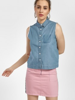 Blue Saint Frayed Hem Sleeveless Shirt