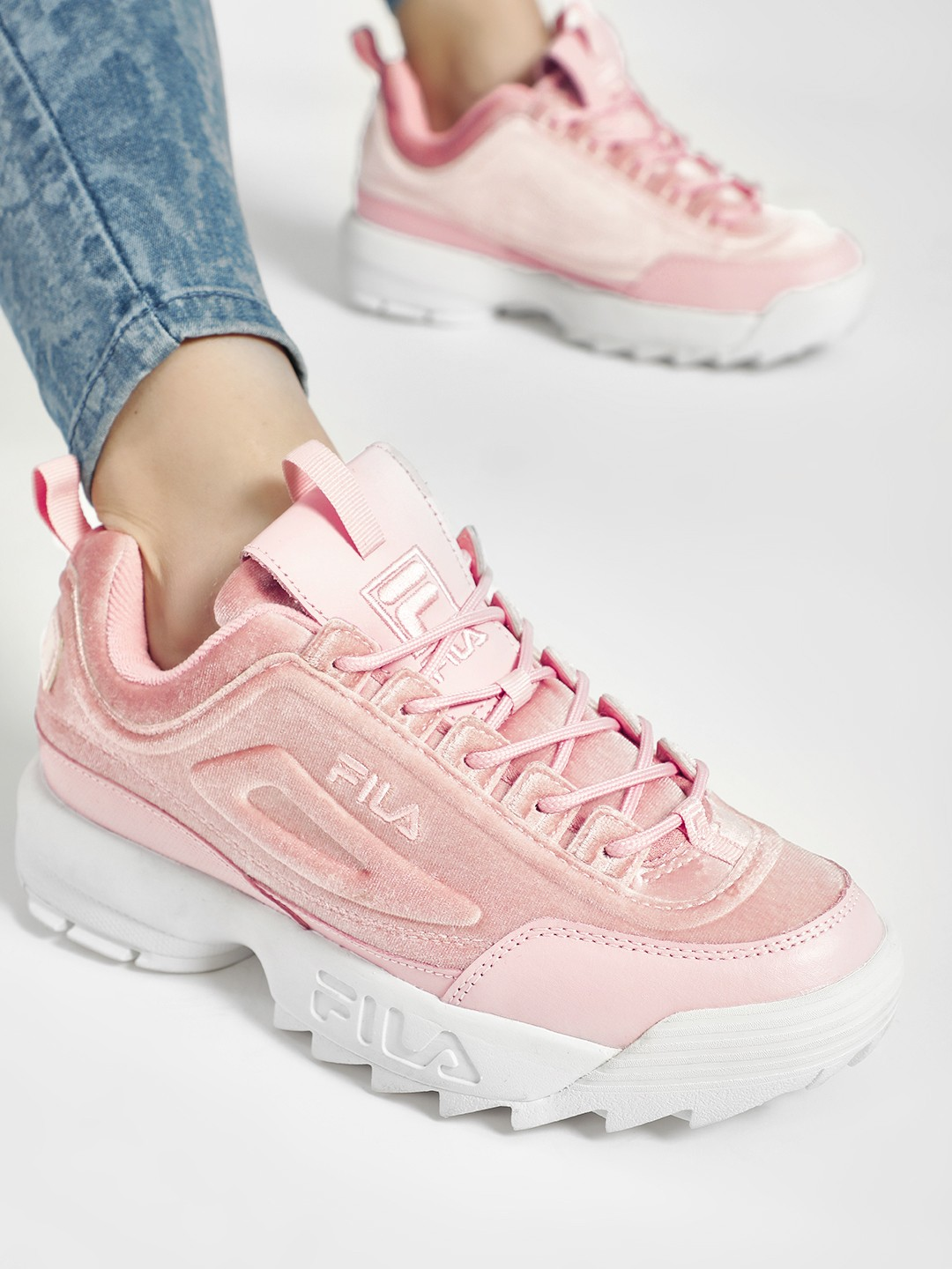 Fila Pink Disruptor II Premium Velour Shoes 1