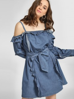 Sbuys Ruffle Cold Shoulder Denim Dress