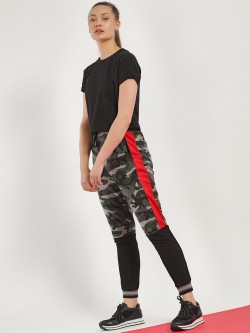 Disrupt Side Tape Camo Panelled Joggers