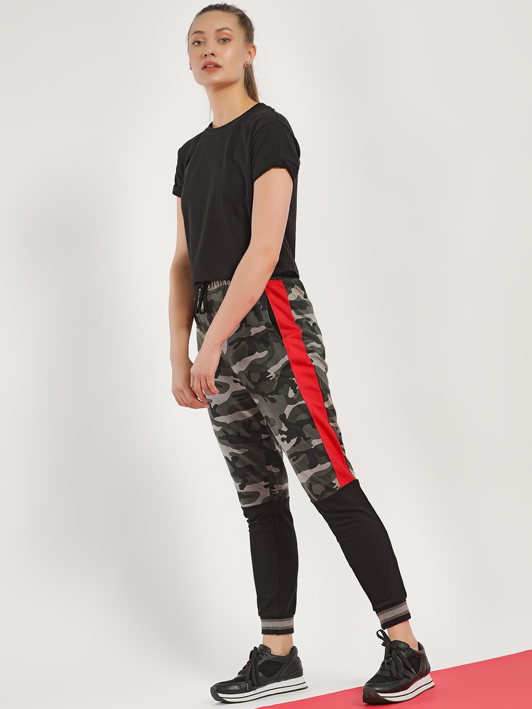 Disrupt Multi Side Tape Camo Panelled Joggers 1