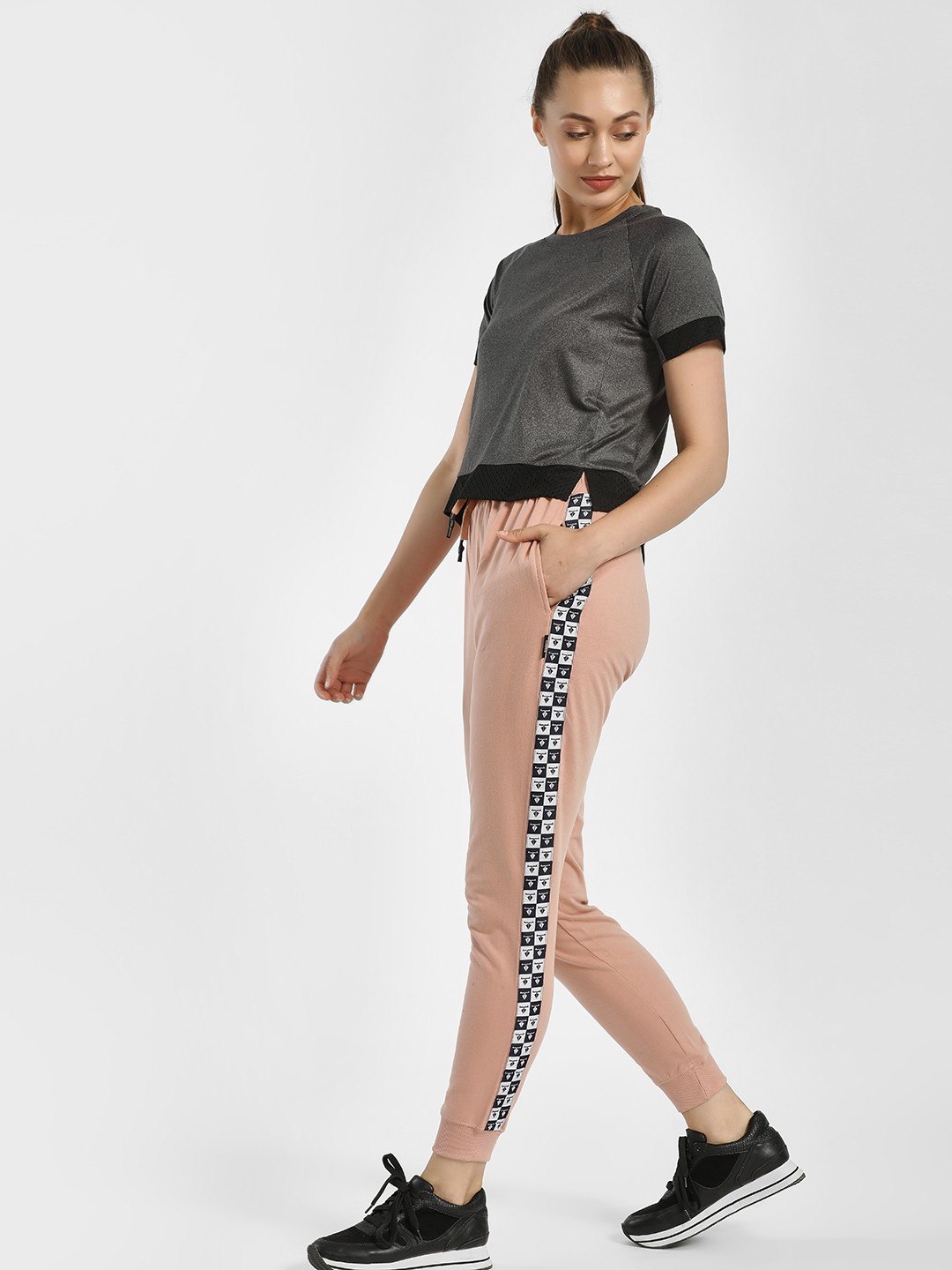 Disrupt Pink Printed Side Tape Joggers 1