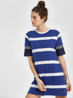 Disrupt Striped Mesh Sleeve T-Shirt Dress