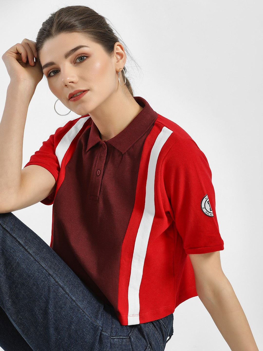 Disrupt Red Colour Block Crop Polo T-Shirt 1