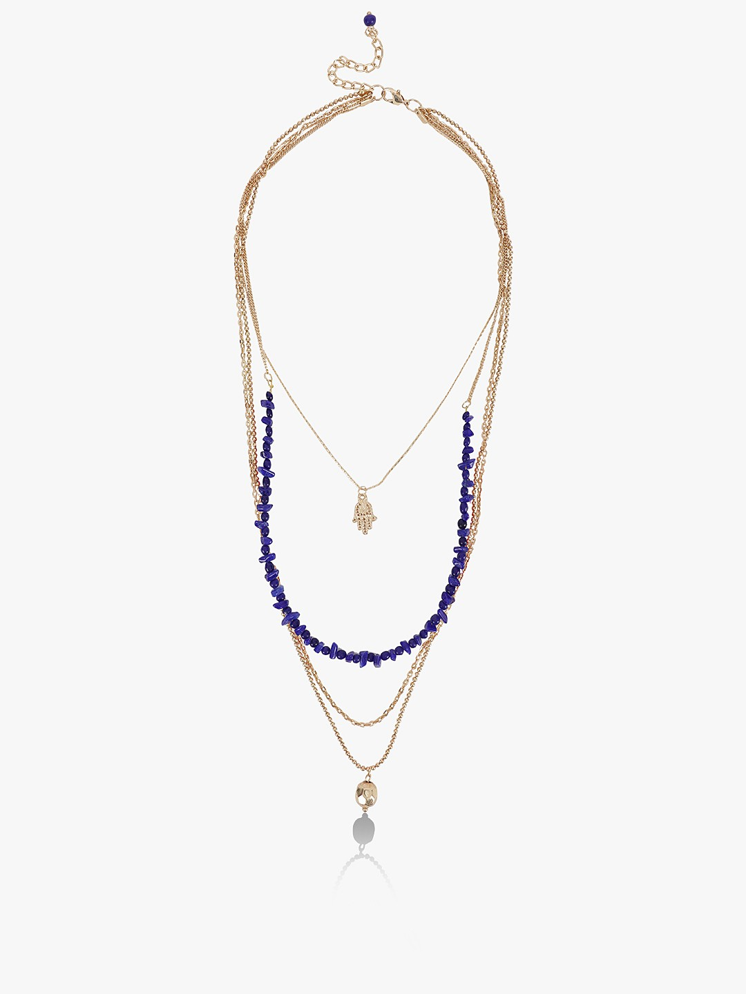 Blueberry Blue Beaded Multi-Chain Pendant Layered Necklace 1