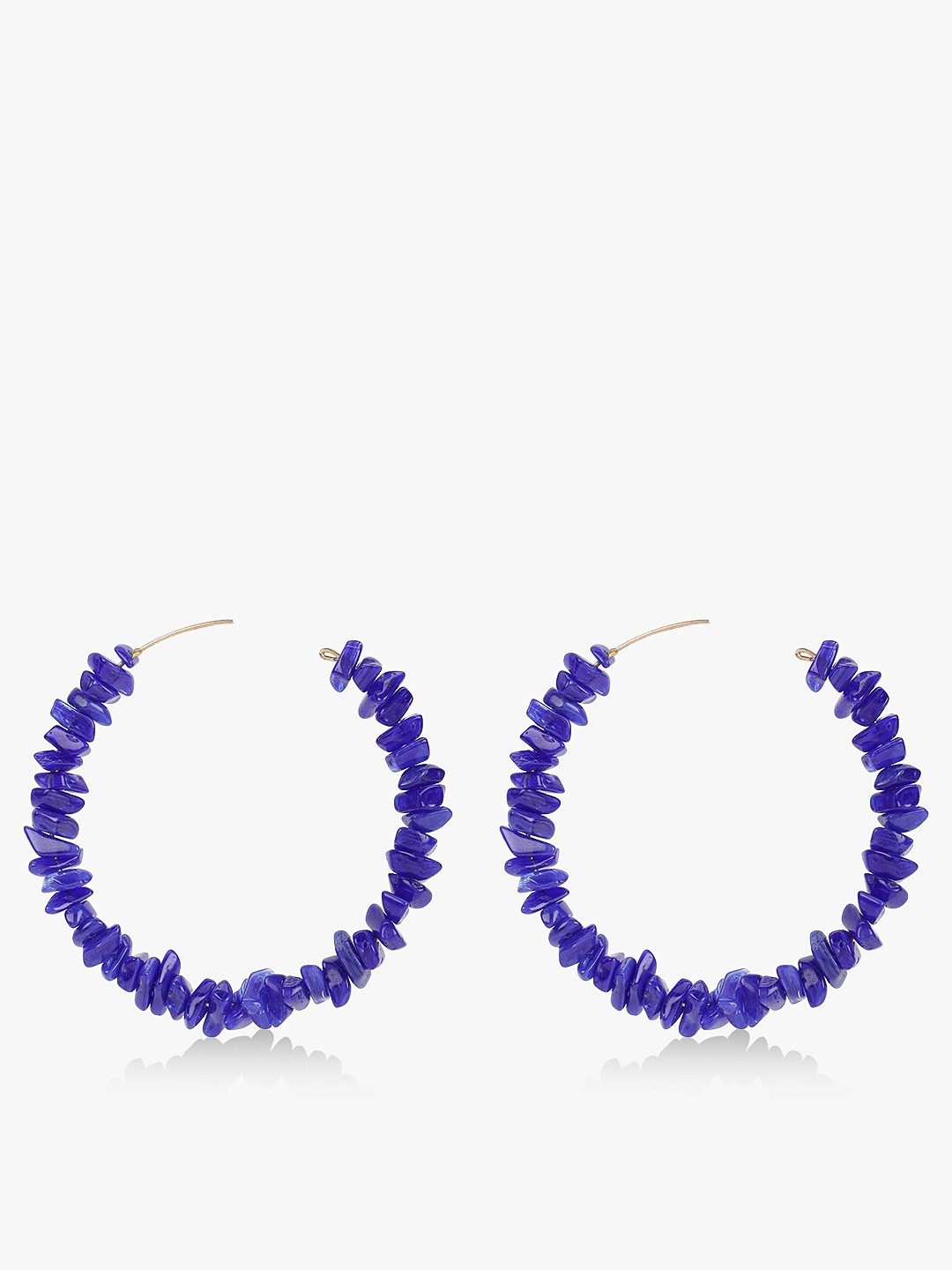 Blueberry Blue Mini Beads Design Hoops 1