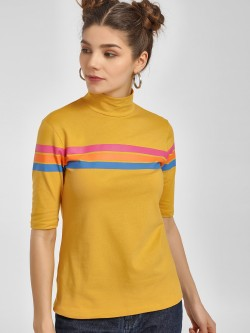 Beyond Clouds Stripe Cut-Out Back Turtleneck T-Shirt